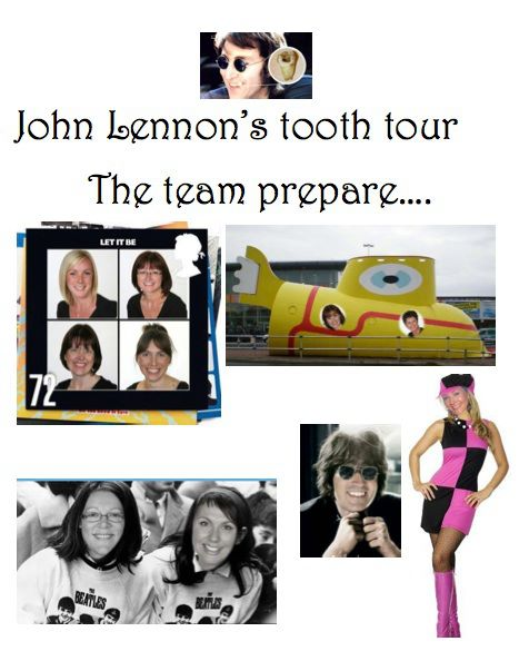 The team with the famous necklace celebrate John Lennon's tooth tour to raise awareness of mouth cancer.